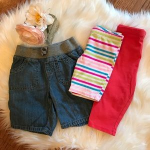 Girls Denim/Cotton Shorts & Leggings Bundle - 4T